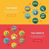 bannières horizontales de la compagnie de taxi vecteur