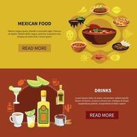 illustration vectorielle de nourriture mexicaine bannières horizontales vecteur