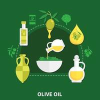 illustration vectorielle de composition plate huile d & # 39; olive vecteur