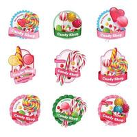 emblèmes de magasin de bonbons mis en illustration vectorielle vecteur