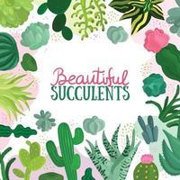 illustration vectorielle de succulentes cadre illustration vecteur