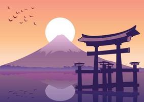 le célèbre monument torii du style de silhouette du japon vecteur
