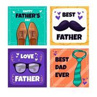 ensemble de cartes de fête des pères dessinées à la main vecteur