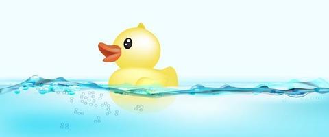 canard en caoutchouc flottant sur l'eau vecteur