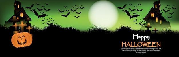 fond de nuit d'horreur halloween heureux avec maison hounted et chauves-souris volantes vecteur
