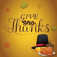 Carte de voeux joyeux thanksgiving célébration avec citrouille de vecteur et feuille d'automne