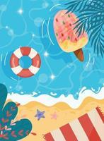 affiche de fond de plage vecteur