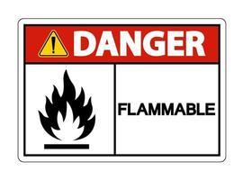 Signe de symbole de danger inflammable sur fond blanc vecteur