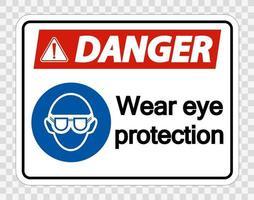 danger porter des lunettes de protection sur fond transparent vecteur