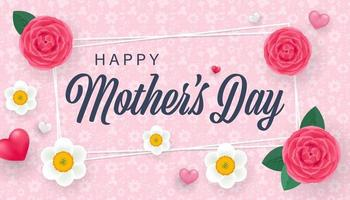 carte de voeux fête des mères avec de belles roses et fleurs de narcisse et petits coeurs 3d. illustration vectorielle isolée vecteur