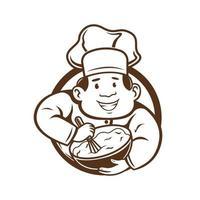 le chef mélange le caractère de la pâte. illustration vectorielle vecteur