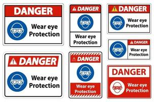 danger porter des lunettes de protection sur fond blanc vecteur