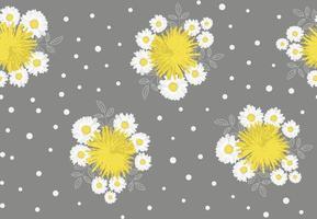 camomille, pissenlit et feuilles modèle sans couture sur fond gris. illustration vectorielle. vecteur