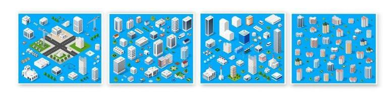 ensemble isométrique 3d module bloc quartier partie de la ville avec une route de rue de l'infrastructure urbaine de l'architecture vectorielle. illustration blanche moderne pour la conception de jeux et les affaires vecteur