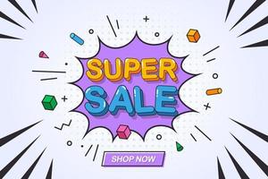 bannière de super vente pour la promotion en ligne vecteur