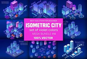 Ville isométrique ultraviolette définie la ville de quartier de bloc de module 3d avec un gratte-ciel de construction de route de rue de l'infrastructure urbaine de l'architecture vectorielle. illustration lumineuse moderne pour la conception de jeux vecteur