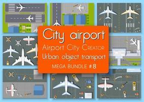 Vue de dessus du plan de l'aéroport du terminal de la ville ensemble de blocs module des zones de la construction de la ville et la conception de la conception de l'environnement urbain vecteur