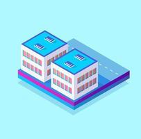 module de bloc 3d isométrique de la partie du quartier de la ville avec un parc de pelouse d'arbres de l'infrastructure urbaine. illustration moderne pour la conception de jeux. vecteur