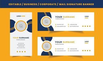 mise en page de signature de courrier électronique d'entreprise personnelle professionnelle moderne, modèle de conception de vecteur avec un lieu de photo d'auteur