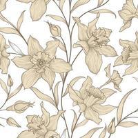 motif floral sans soudure. fond de fleur de jonquille. texture ornementale de carreaux floraux avec des fleurs de narcisse. texture de dessin de jardin fleuri de printemps vecteur