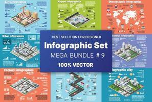 isométrique ensemble infographie concept du module de blocs des zones de la construction du bâtiment et de la conception de la ville en perspective de la conception de l'environnement urbain vecteur