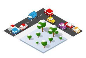 Carrefour isométrique intersection des rues des autoroutes avec des voitures de circulation debout dans la confiture vecteur