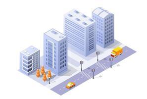 module 3d isométrique quartier de bloc partie de la ville avec une route de rue de l'infrastructure urbaine de l'architecture vectorielle illustration blanche moderne pour la conception de jeux vecteur