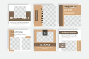 bannière de modèle de publication de médias sociaux design d'intérieur maison vecteur
