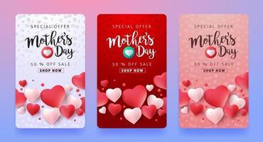 fond de bannière affiche de vente fête des mères vecteur