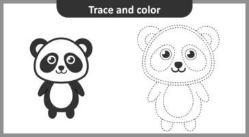 trace et couleur panda vecteur