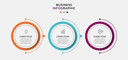 Le vecteur de conception infographie et les icônes de marketing peuvent être utilisés pour la mise en page du flux de travail, le diagramme, le rapport annuel, la conception de sites Web. concept d'entreprise avec 3 options, étapes ou processus.