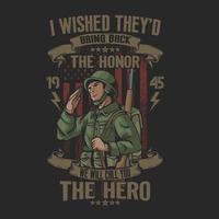 salue le soldat américain les héros vecteur