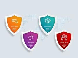 modèle d'élément d'infographie de bouclier avec des icônes de l'entreprise vecteur