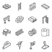 éléments de matériaux de construction vecteur