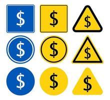 symbole pièce dollar signe ensemble vecteur