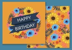 conception d'illustration de fond anniversaire coloré pour carte vecteur