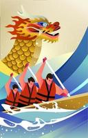 concept de course de bateau dragon vecteur