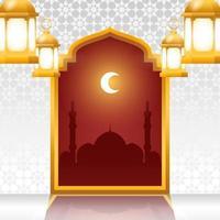 eid mubarak fond avec lanternes suspendues et arc arabesque vecteur