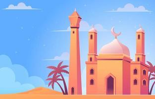 belle mosquée dans le désert vecteur