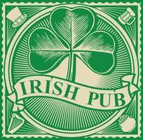 étiquette de pub irlandais - trèfle à trois feuilles vecteur