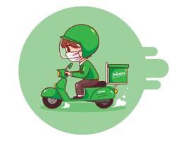 livreur de nourriture équitation moto dessin animé art illustration vecteur
