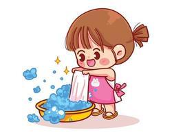 jolie fille lave des vêtements illustration d'art de dessin animé vecteur