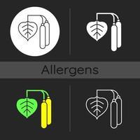 icône de thème sombre pollen de bouleau vecteur