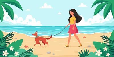 temps libre sur la plage. femme qui marche avec un chien. heure d'été. illustration vectorielle vecteur