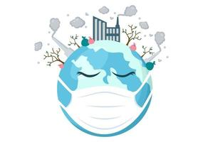 sauver notre planète terre illustration dans un environnement vert avec un concept écologique et une protection contre les dommages naturels vecteur