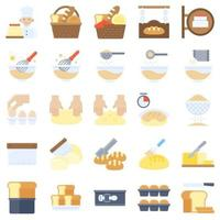 boulangerie et pâtisserie ensemble d'icônes plat connexes 2 vecteur