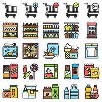Jeu d'icônes liées au supermarché et au centre commercial, style fiiled vecteur