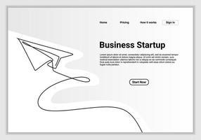 dessin au trait continu d'avion en papier. illustration de message icône vecteur entreprise avec modèle de devis.