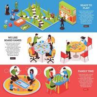 jeux de société personnes bannières isométriques vector illustration
