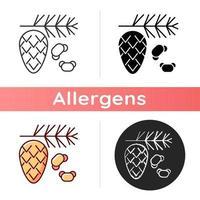 icône de pollen de cèdre et de pin vecteur